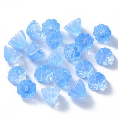 11mm CornflowerBlue Flower Glass Beads