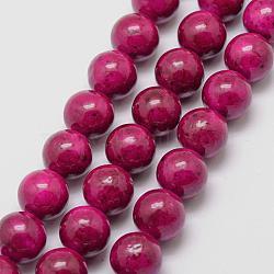 "Perles fossiles, teint, rond, camélia, 6mm, trou: 0.8mm; environ 66 pcs/chapelet, 16""(G-SR6MM-FS17)"