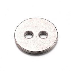 Boutons en acier inoxydable 304, 2-trou, plat rond, couleur inoxydable, 12x1mm, Trou: 2mm(STAS-D429-77)