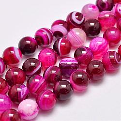 Natural Striped Agate/Banded Agate Bead Strands, Dyed & Heated, Round, Grade A, DeepPink, 12mm, Hole: 1mm; about 32pcs/strand, 15.1