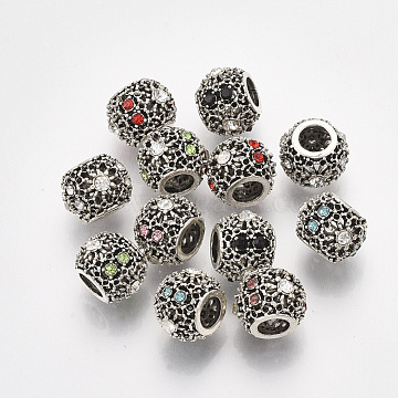 Antique Silver Plated Alloy European Bead Rhinestone Settings, with Rhinestones, Large Hole Beads, Rondelle, Mixed Color, Fit for 0.6mm Rhinestone; 11x8.5mm, Hole: 4.5mm(MPDL-S067-03)