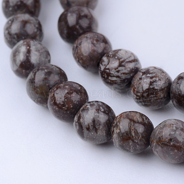 8mm Round Snowflake Obsidian Beads