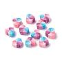 Handmade Polymer Clay Beads, Heart, Colorful, 10x11x5mm, Hole: 1.6mm