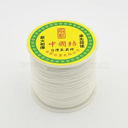 Cordons de fibre de polyester à fil rond, blanc, 0.7mm, environ 100 m / bibone (OCOR-J003-07)