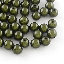 Perles rondes en acrylique peintes par pulvérisation miracle, Perle en bourrelet, olive, 8mm, trou: 2 mm; environ 1827 pcs / 500 g(MACR-Q154-8mm-N04)