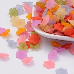 Couleur mixte acrylique transparent dépoli bouchons fleur de perles, environ 12 mm de diamètre, épaisseur de 4.5mm, Trou: 1 mm(X-PL561M)