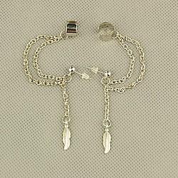 mode de style tibétain oreille manchette boucles d'oreilles, avec des chaînes de câble de fer, pièces en laiton et écrous d'oreilles en plastique, argent antique, 60 mm(EJEW-JE00561-10)