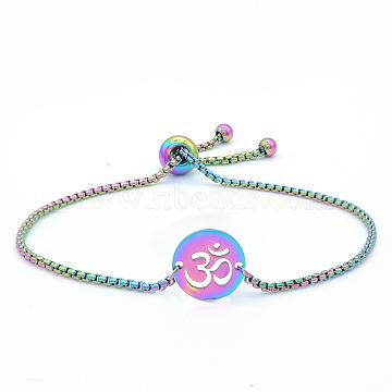 """Bracelets réglables en 201 acier inoxydable, bracelets bolo, avec des chaînes de boîte, rond plat avec aum / ohm, multicolore, 9-1/2"""" (24 cm)(STAS-S105-JN652)"""
