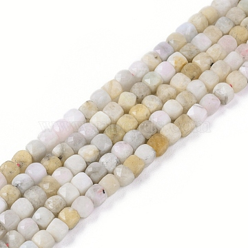 Natural Morganite Beads Strands, Faceted, Cube, 3.5~4x3.5~4x3.5~4mm, Hole: 0.6mm; about 97~104pcs/strand, 15.35inches~15.55inches(39~39.5cm)(G-L537-009C)