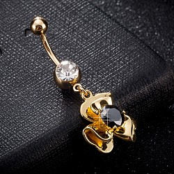 Environmental Brass Cubic Zirconia Navel Ring, Belly Rings, with Use Stainless Steel Findings, Real 18K Gold Plated, Flower, Black, 45x18mm, Pin: 1.5mm(AJEW-EE0004-19B)