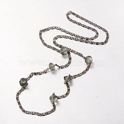 """Ton noir chaînes de Lumachina colliers de fer, avec des perles à facettes en verre rondelle, grises , 31.4""""(NJEW-J023-11)"""