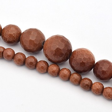 Synthetic Goldstone Graduated Beads Strands, Faceted, Round, 6~14mm, Hole: 1mm; about 63pcs/strand, 17.3inches(G-E302-022A)