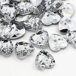 Boutons en acrylique avec strass, 2-trou, facette, cœur, cristal, 13x13x4mm, Trou: 1mm(X-BUTT-J007-01-C)
