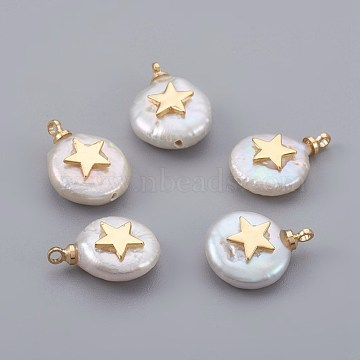 Natural Cultured Freshwater Pearl Pendants, with Brass Findings, Long-Lasting Plated, Flat Round with Star, Real 18K Gold Plated, 14~21x9~16x5~9mm, Hole: 1.5mm(X-PEAR-F008-04G)