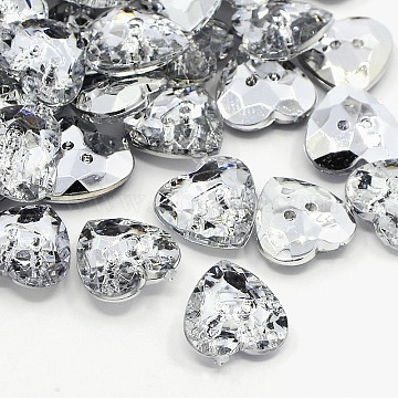 Acrylic Rhinestone Buttons, 2-Hole, Faceted, Heart, Crystal, 13x13x4mm, Hole: 1mm(X-BUTT-J007-01-C)