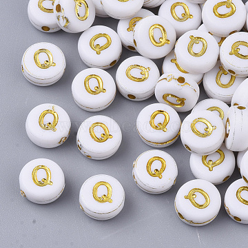 Plating Acrylic Beads, Golden Metal Enlaced, Flat Round with Alphabet, White, Letter.Q, 7x3.5mm, Hole: 1.2mm; about 360pcs/50g(X-PACR-R242-01Q)
