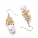 Synthetic Shell Pearl Dangle Earrings(EJEW-P179-03G-04)-2