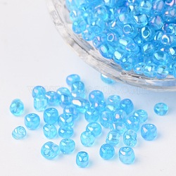 6/0 Transparent Rainbow Colours Round Glass Seed Beads, DarkTurquoise, Size: about 4mm in diameter, hole: 1.5mm, about 495pcs/50g(X-SEED-A007-4mm-163B)