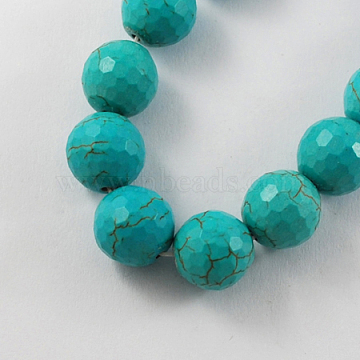 14mm DarkTurquoise Round Synthetic Turquoise Beads