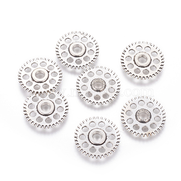 Tibetan Style Alloy Steampunk Chandelier Components, Gear, Cadmium Free & Nickel Free & Lead Free, Antique Silver, 26x4mm, Hole: 2mm(X-TIBE-5302-AS-FF)