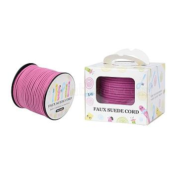 Faux Suede Cord, Faux Suede Lace, Paper Box Packing, Old Rose, 3.0x1.4mm; about 98.43yards/roll(90m/roll)(LW-JP0001-3.0mm-1069)