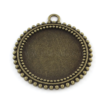 Tibetan Style Flat Round Alloy Pendant Cabochon Settings, Cadmium Free & Nickel Free & Lead Free, Antique Bronze, Tray: 25mm; 37x33x2mm, Hole: 3mm(X-TIBEP-Q045-031AB-NR)