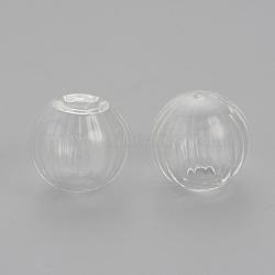 Perles de globe en verre soufflé faites à la main, pour création de boucles d'oreilles ou de l'artisanat, la moitié foré, rond, clair, 16x14~15mm, Trou: 4~5mm(X-BLOW-R003-16mm-01)