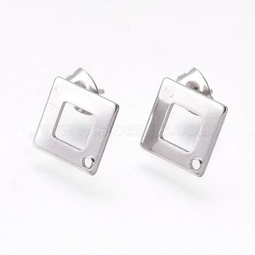 Placage sous vide 304 boucles d'oreille en acier inoxydable, rectangle, couleur inoxydable, 13.5x13.5x0.8mm, trou: 1 mm; broches: 0.7 mm(STAS-O119-13P)
