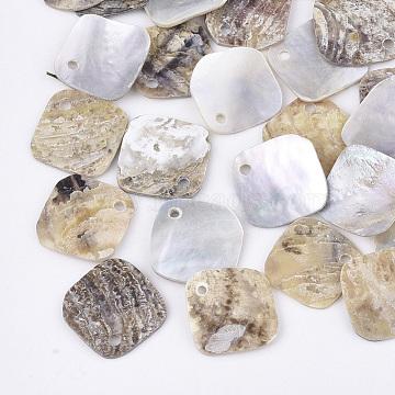 Natural Akoya Shell Charms, Mother of Pearl Shell Pendants, Rhombus, Tan, 14x14x1mm, Hole: 1.4mm;  Diagonal Length: 14mm; Side Length: 12mm(SHEL-T012-38)