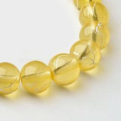 """Perles en verre rondes transparentes drawbench, peint à la bombe, verge d'or, 8 mm; trou: 1.3~1.6 mm; environ 100 pcs / brin, 31.4""""(X-GLAD-Q012-8mm-06)"""