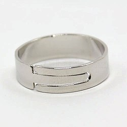 DIY Jewelry Adjustable Finger Rings Components Iron Ring Findings, Nickel Free, Platinum, 17mm(X-IFIN-M003-01P-NF)