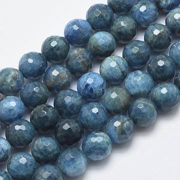Natural Apatite Beads Strands, Faceted, Round, 10mm, Hole: 1mm; about 40pcs/strand, 15.3inches(39cm)(G-F547-37-10mm)
