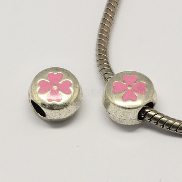 12mm Pink Flat Round Alloy+Enamel Beads
