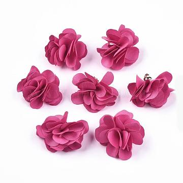 Cloth Pendant Decorations, with Acrylic Findings, Flower, HotPink, 25~30x28~35mm, Hole: 2mm(X-FIND-P026-D02)