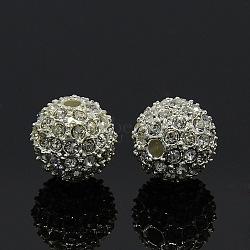 Métal couleur argent ronde de grade A alliage cristal strass perles, 12mm, Trou: 2mm(X-RB-A034-12mm-A01S)