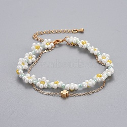 """Bracelets en laiton multi-brins, avec des perles de rocaille en verre et des chaînes de câbles, trèfle, colorées, 13-1/4""""~14-5/8"""" (33.4~37.2cm); 1~1.5mm(BJEW-JB04291-05)"""