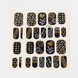 Autocollants en papier de tatouages temporaires de faux styles amovibles, métalliques ongles autocollants, or, 18~26x8~16 mm; environ 2 PCs / sac(AJEW-O025-01)
