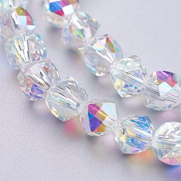 Glass Imitation Austrian Crystal Beads, Faceted Round, Clear AB, 7x7.5x7.5mm, Hole: 1.2mm(GLAA-O019-03A)
