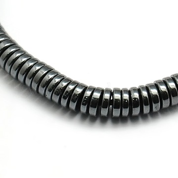 Grade AA Non-magnetic Synthetic Hematite Flat Round Beads Strands, 4.5x2.5mm, Hole: 1mm; about 160pcs/strand, 16inches(X-G-F161-16C)