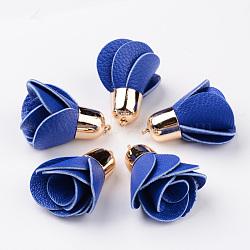 Décorations de pendentif en cuir pu fleur rose, avec accessoires en plastique CCB plaqué or, bleu, 45~48x30mm, Trou: 2mm(CCB-L003-02)