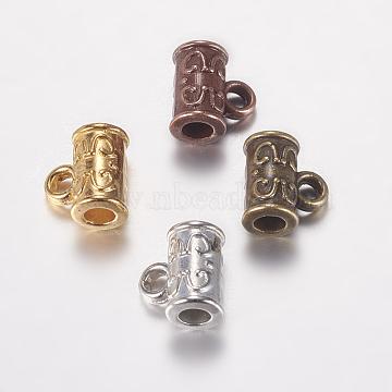 Alloy Hanger Links, Cadmium Free & Lead Free, Column, Mixed Color, 6.5x7x4mm, Hole: 1mm, Inner Diameter: 2mm(X-PALLOY-E446-04)