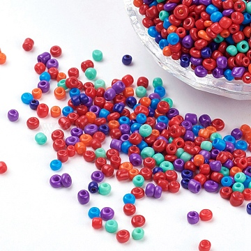 8/0 Baking Painted Round Glass Seed Beads, Mixed Color, 2.5~3.5x2~2.5mm, Hole: 0.8~1mm; about 1344pcs/50g(X-SEED-K003-3mm-M05)