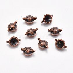 Supports du connecteur strass style tibétain, sans cadmium et sans plomb et sans nickel, cône, cuivre rouge, 10x14x5mm, trou: 1 mm; apte à 7 mm strass(X-TIBE-00464-R-NR)