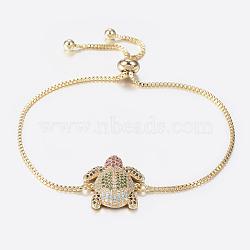 """Bracelets bolo extensibles en laiton avec zircon cubique de micro pavé, Bracelets coulissants, tortue, or, 10-1/4"""" (260 mm); 1.2mm(BJEW-H558-09G)"""