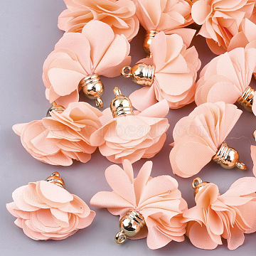 Golden LightSalmon Flower Cloth Pendants