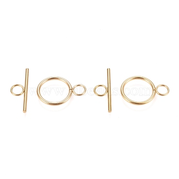 Vacuum Plating 304 Stainless Steel Toggle Clasps, Ring, Golden, Ring: 27.5x19.5x2mm, Hole: 5.5mm, Bar: 30x10x2mm, Hole: 5.5mm(X-STAS-F251-01G)