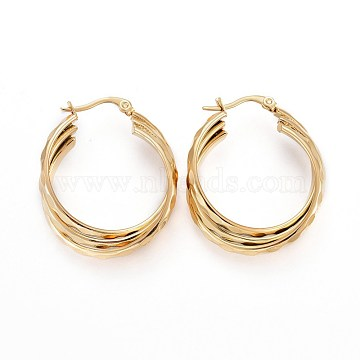 Vacuum Plating 304 Stainless Steel Triple Hoop Earrings, Dapped Oval, Golden, 36x30x9mm, Pin: 1.5x0.5mm(EJEW-P176-02G)