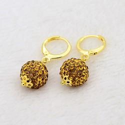 Pendantes rondes résine de balle boucles d'oreilles strass, avec boucles d'oreilles créoles en laiton doré, topaze, 30mm, pin: 1 mm(EJEW-J080-17G)