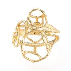Adjustable Brass Finger Ring Settings, Long-Lasting Plated, Golden, Size 7,  Inner Diameter: 17mm; Tray: 10x12mm and 6mm(X-KK-L155-32G)
