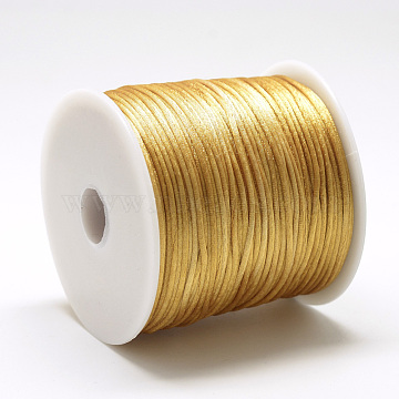 Nylon Thread, Rattail Satin Cord, Goldenrod, about 1mm, about 76.55 yards(70m)/roll(NWIR-Q010A-562)